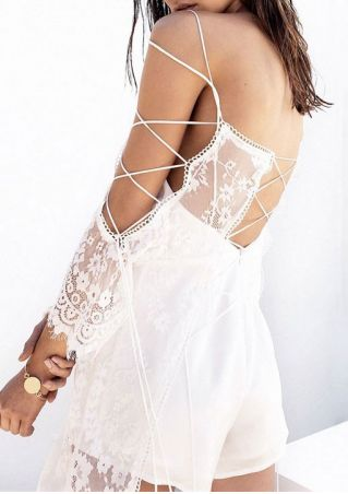 Solid Lace Floral Lace Up Mini Dress