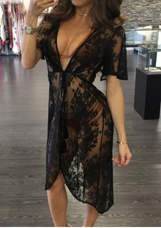 Solid Lace Floral Tassel Cover Up without Necklace