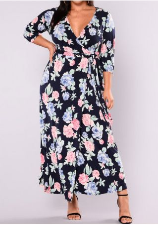 Plus Size Floral Maxi Dress without Necklace