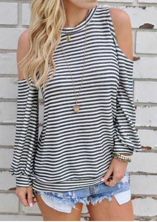 Striped Cold Shoulder Blouse without Necklace