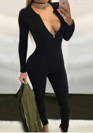 Solid Deep V-Neck Zipper Slim Jumpsuit without Neclace