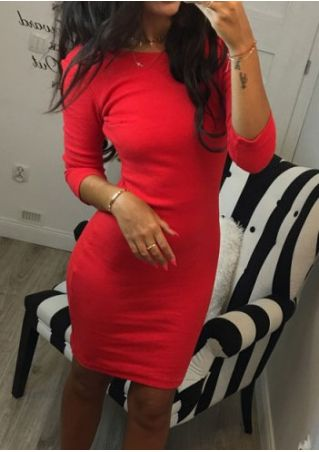 Solid Three Quarter Sleeve Backless Bodycon Dress without Necklace