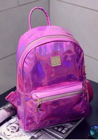 Solid Zipper Laser Backpack