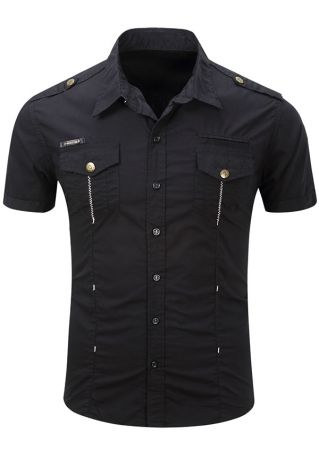 Solid Pocket Short Sleeve Shirt