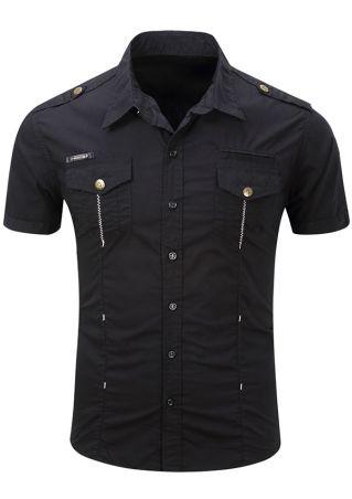 Solid Pocket Short Sleeve Shirt