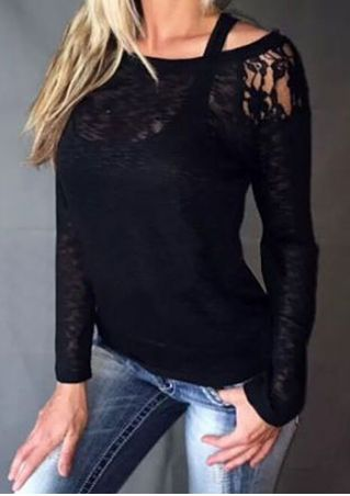 Solid Lace Floral Blouse without Tank