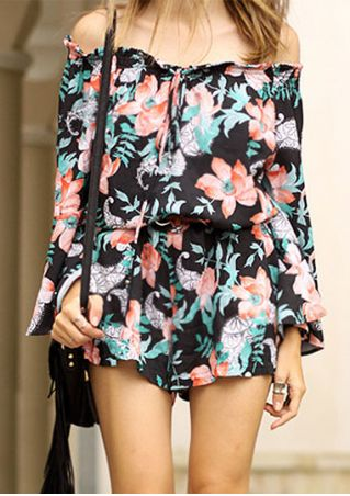 Floral Off Shoulder Long Sleeve Romper