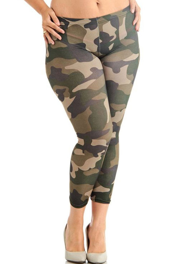 f07b505190ca4 Plus Size Camouflage Printed Skinny Leggings - Bellelily