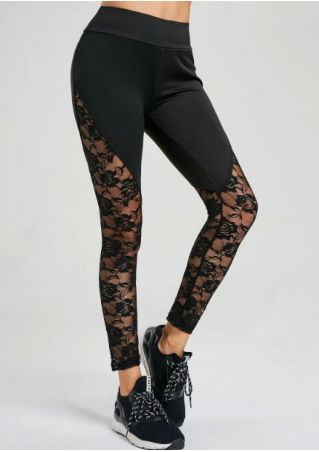 Solid Lace Floral Splicing Skinny Sport Pants