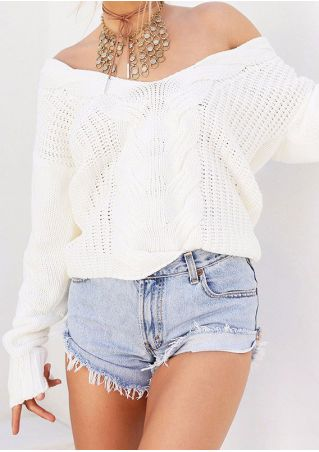 Solid V-Neck Sweater without Necklace