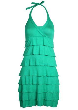 Solid Flouncing Halter Mini Dress