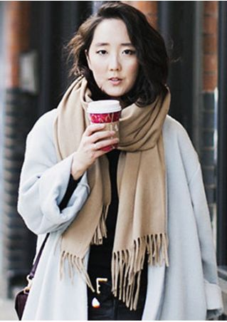 Solid Tassel Square Scarf