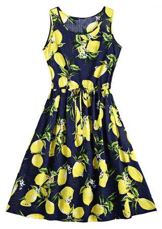 Lemon Drawstring Sleeveless Casual Dress