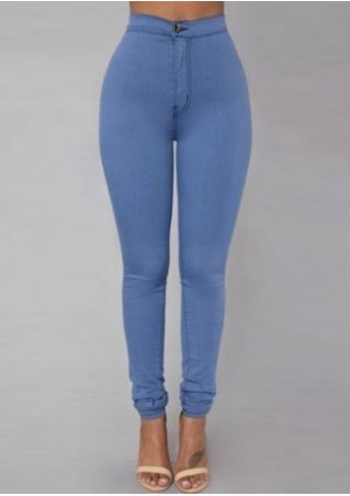 Solid High Waist Button Pants