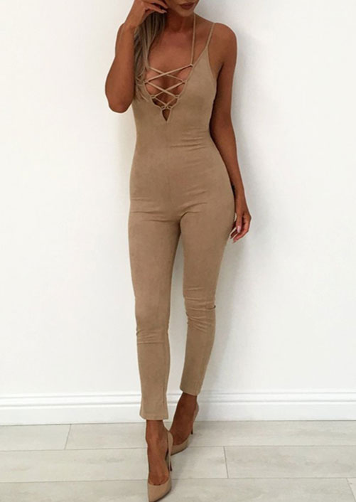 23dc66d0d1ed Solid Lace Up Spaghetti Strap Jumpsuit - Bellelily