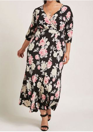 Plus Size Floral V-Neck Maxi Dress without Necklace