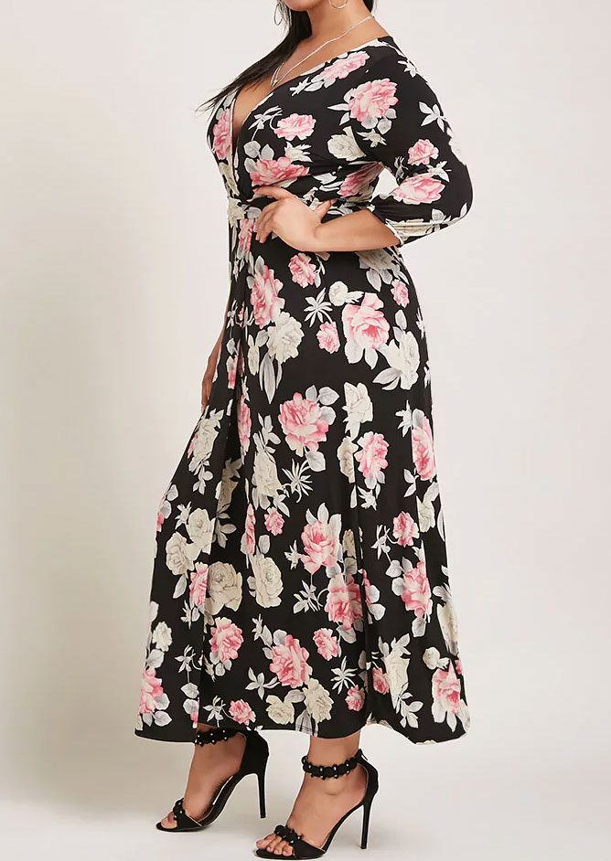 b3ef5f3870a Plus Size Floral V-Neck Maxi Dress without Necklace - Bellelily