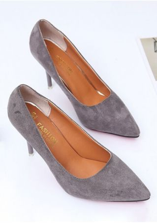 Solid Pointed Toe Heeled Pumps