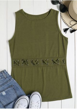 Solid Criss-Cross O-Neck Tank