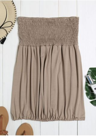 Solid Ruffled Strapless Tank