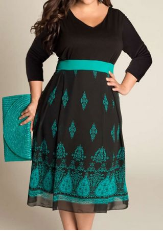 Plus Size Printed Splicing V-Neck Casual Dress