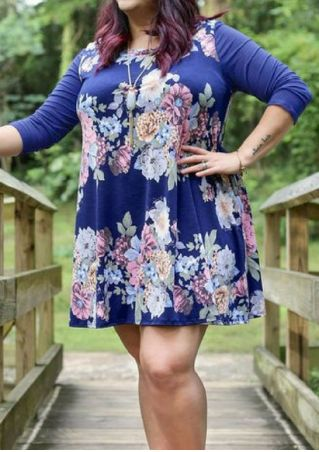 Plus Size Floral Splicing Mini Dress without Necklace