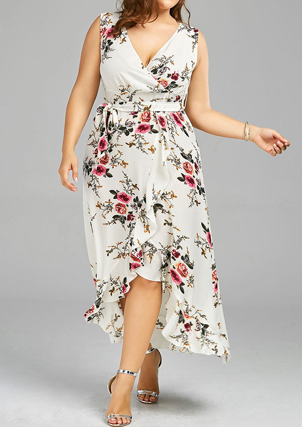Plus Size Floral Wrap Asymmetric Casual Dress - Bellelily