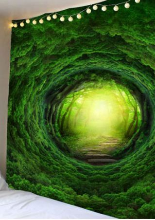 3D Nature Tree Hole Rectangular Tapestry