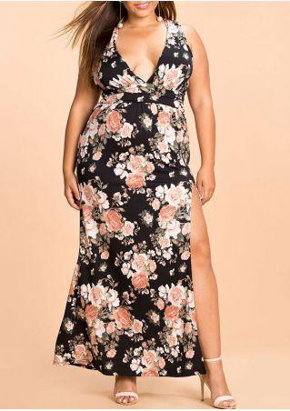 Plus Size Floral Slit Wrap V-Neck Maxi Dress