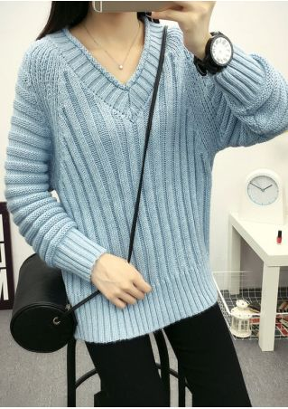 Solid V-Neck Long Sleeve Sweater without Neaklace
