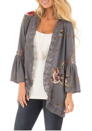 Floral Lace Splicing Cardigan without Necklace