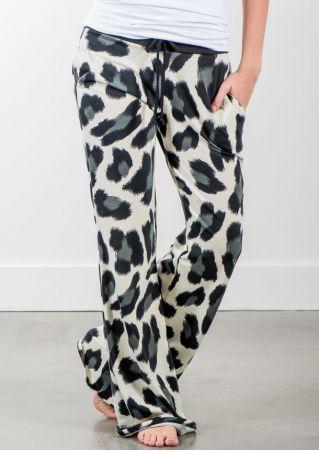 Leopard Printed Drawstring Wide Leg Pants