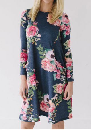 Floral Pocket O-Neck Casual Dress