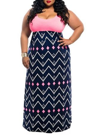Plus Size Zigzag Splicing O-Neck Maxi Dress