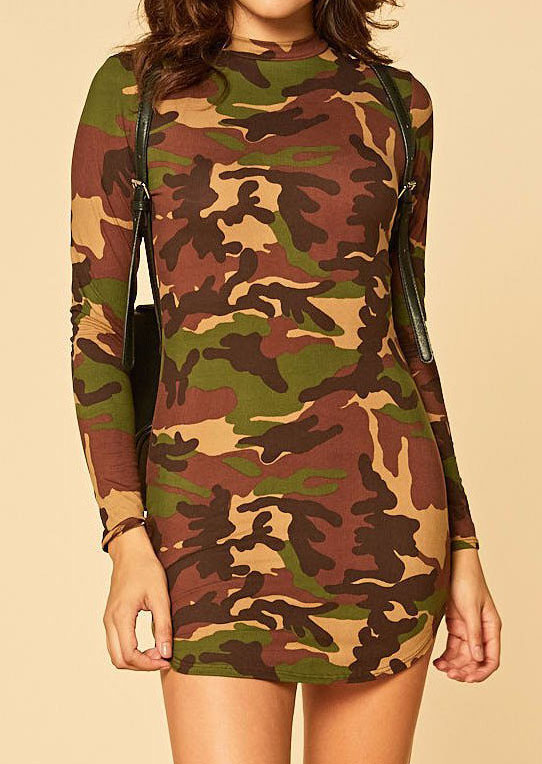 Camouflage Printed Long Sleeve Bodycon Dress
