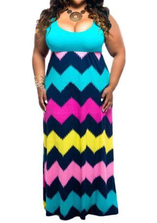 Plus Size Zigzag Printed Sleeveless Maxi Dress without Necklace