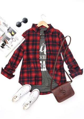 Plaid Turn-Down Collar Button Shirt