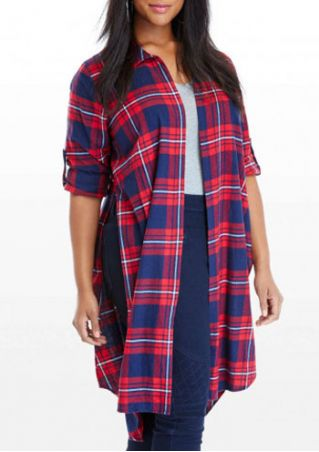 Plus Size Plaid Turn-Down Collar Slit Shirt
