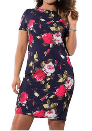 Plus Size Floral Short Sleeve Bodycon Dress