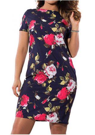 Plus Size Floral Short Sleeve Bodycon Dress