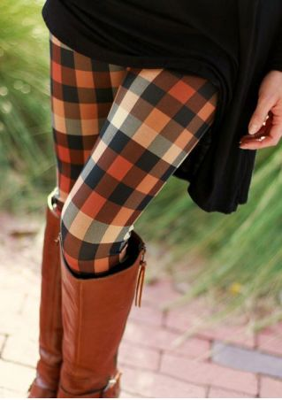 Plaid Elastic Waist Skinny Leggings