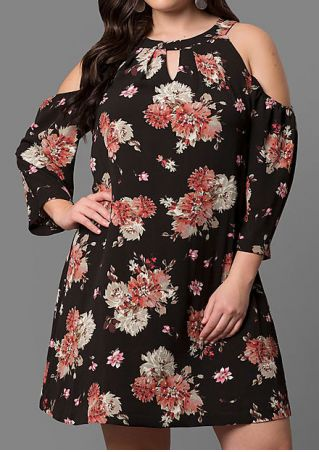Plus Size Floral Hollow Out Casual Dress