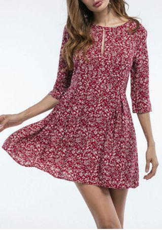 Floral Hollow Out Mini Dress