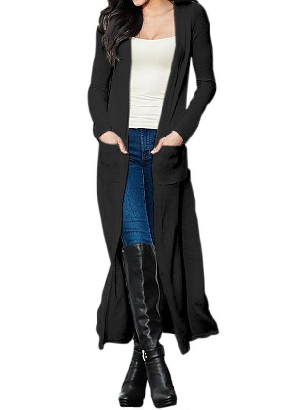 Solid Pocket Long Sleeve Cardigan