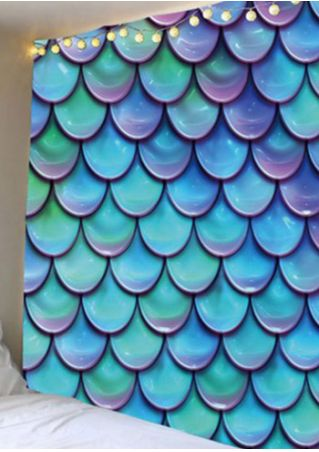 3D Fish Scales Printed Rectangular Tapestry
