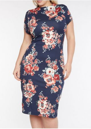 Plus Size Floral Hollow Out Bodycon Dress