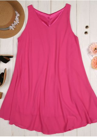 Solid V-Neck Sleeveless Mini Dress