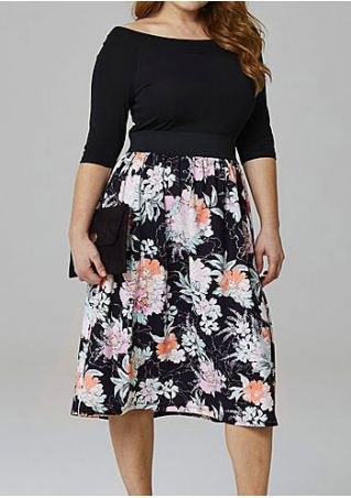 Plus Size Floral Splicing Casual Dress
