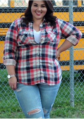 Plus Size Plaid Pocket Turn-Down Collar Shirt