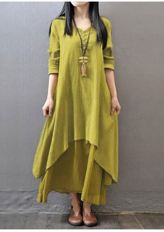 Solid Layered Maxi Dress without Necklace